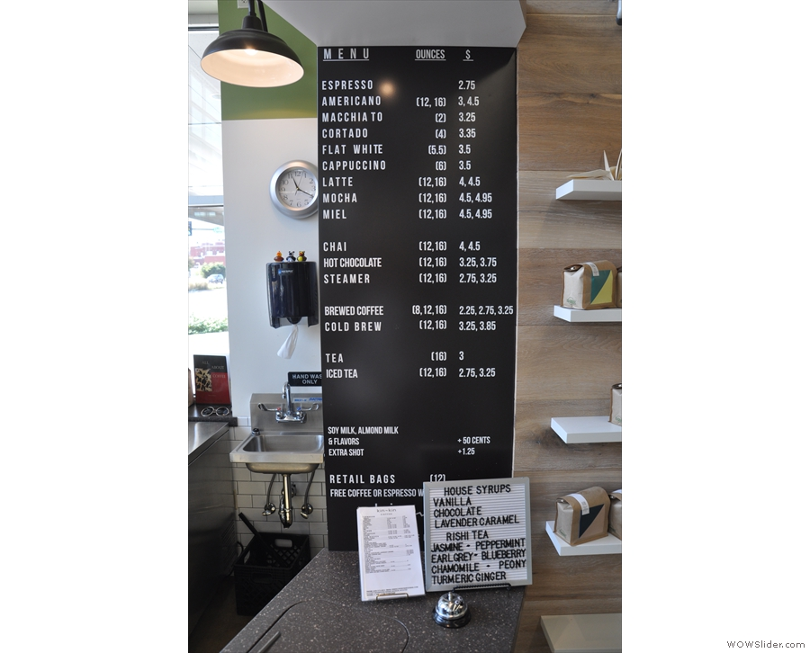 If you've come to drink coffee, the menu (white on black this time) is again to the right.