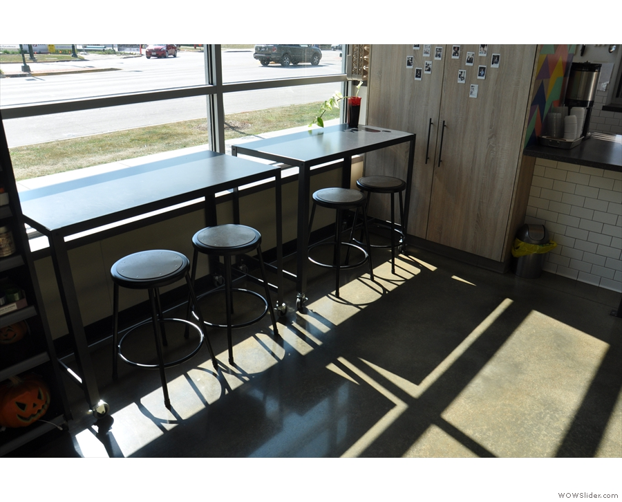 It's more than just a coffee stand though. There's seating, such as these two tables...