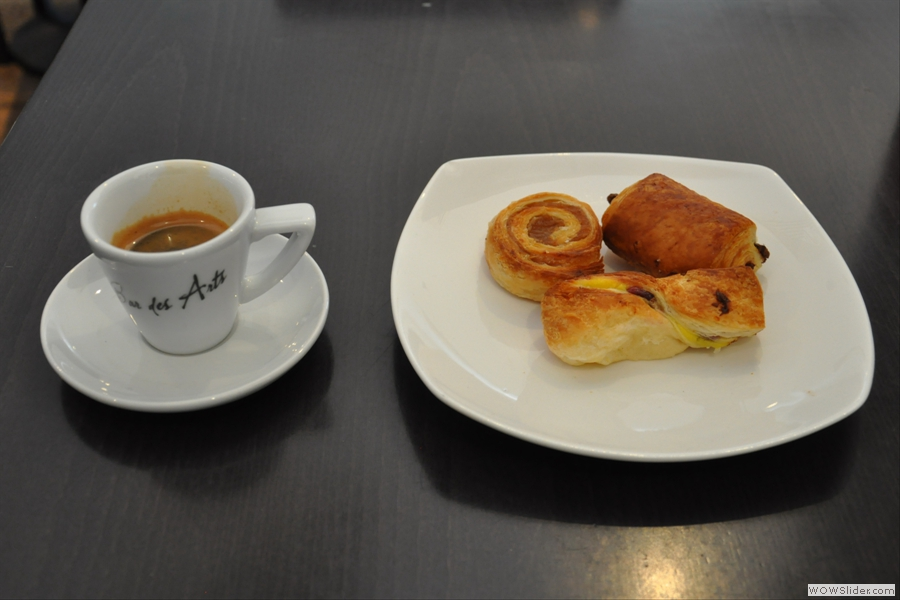 Single espresso and (three!) danish pastries. I was blessed on this visit. You normally only get two.