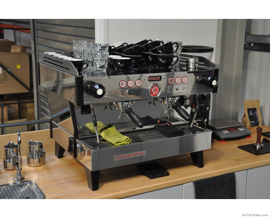 ... while on the left, a La Marzocco Linea which is a supplied with 'minseralised' water.