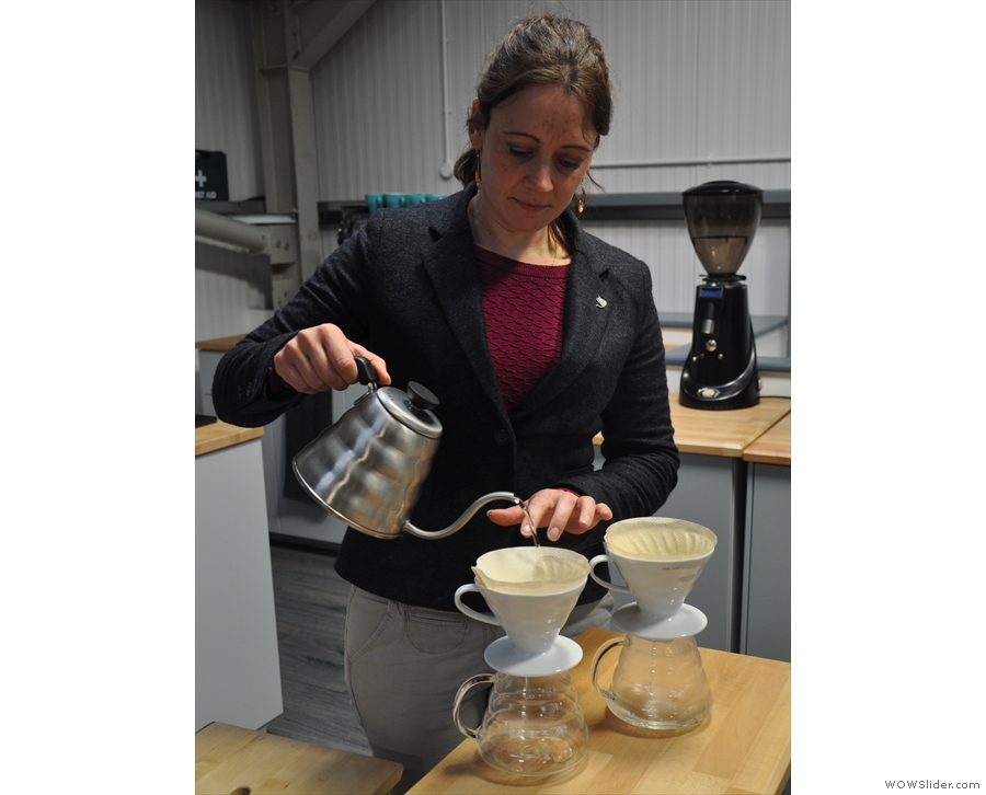 Back upstairs, and Angharad brews up two V60s, one of the natural and one of the washed.