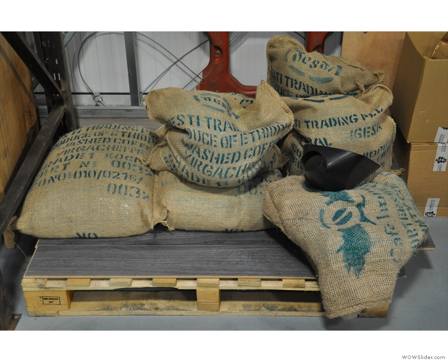 No roastery visit would be complete without the obligatory shot of sacks of green beans.