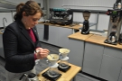 ... which Angharad carefully weighs out into the two V60s.