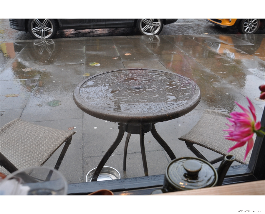 There are some outside tables, but they're meant for a drier day than the one I was there!