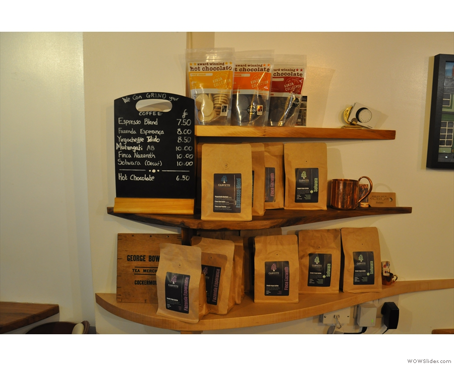 ... while various bags of coffee, boxes of tea and packets of hot chocolate are for sale.