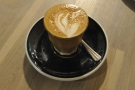 My cortado, made with the El Salvador Guineyal Lot 35 guest espresso.