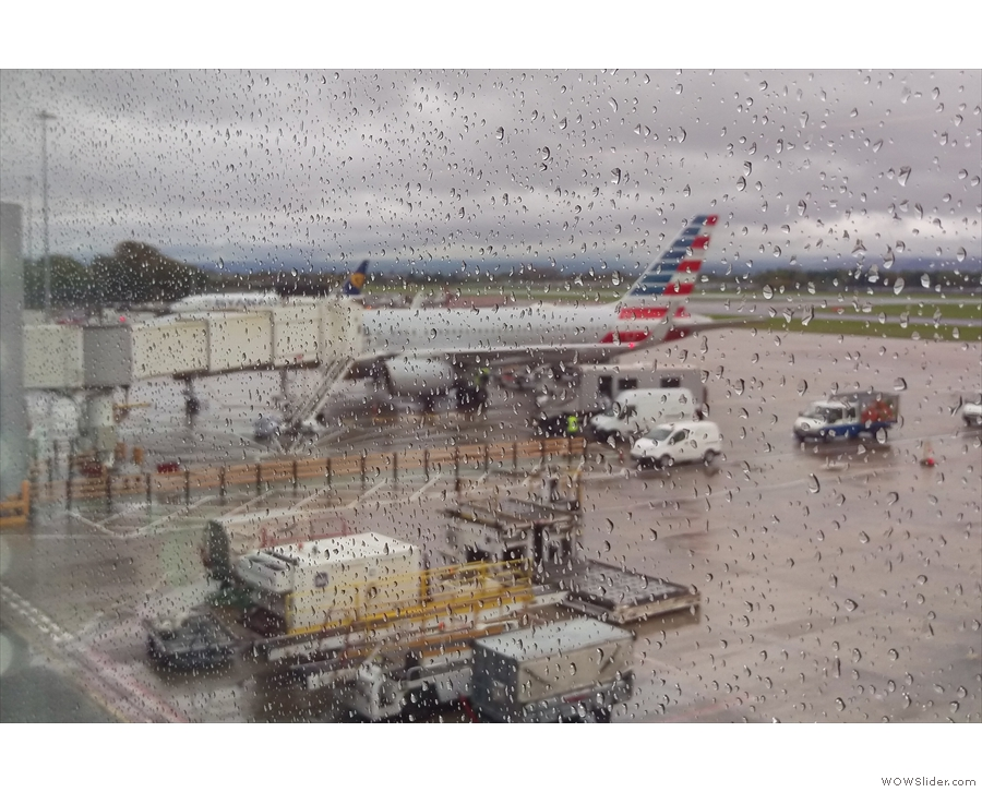 It's Manchester, so, of course, it was raining. That's my plane in the distance.