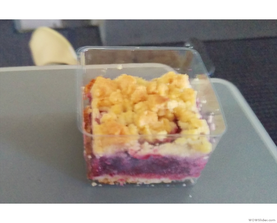 ... plus the awesome cherry crumble cake. Apologies for the poor photo.