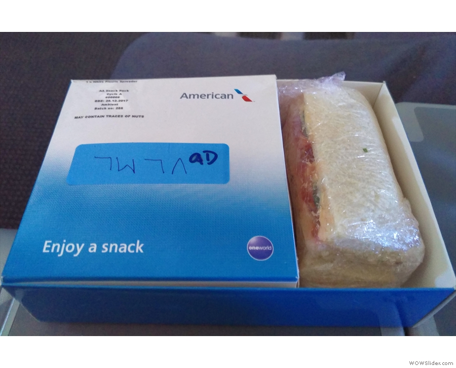 And finally, before we land, a mid-afternoon snack.