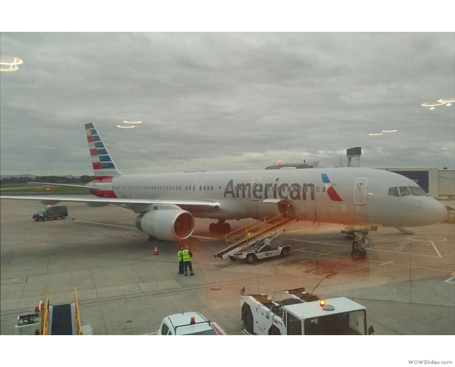One last look at my ride for the day, sadly not the same 757 that I flew over on.