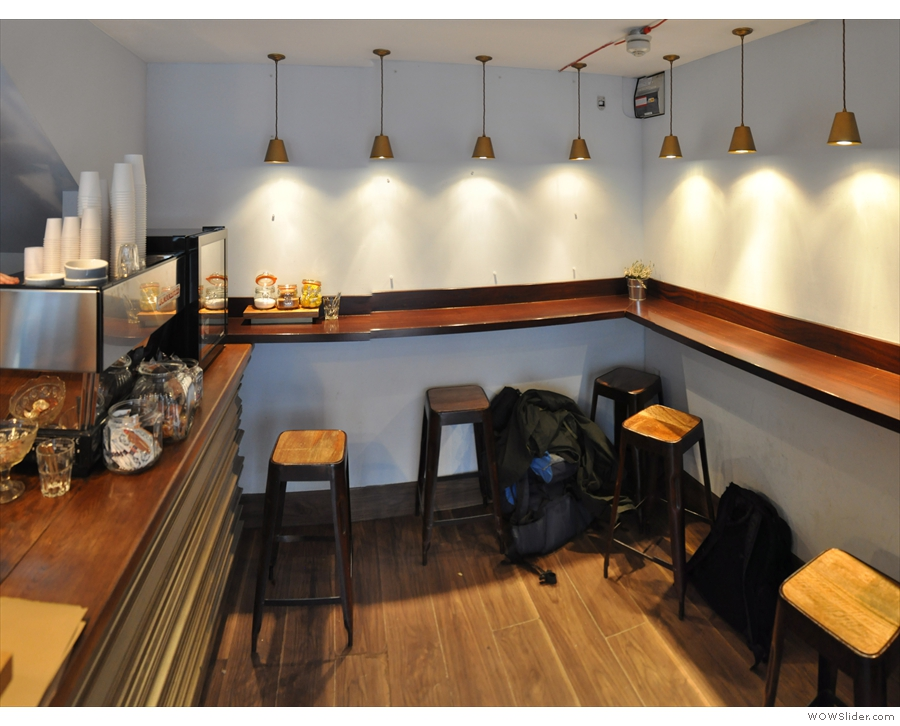 ... while the seating area is on the right and against the back wall. And that's it.