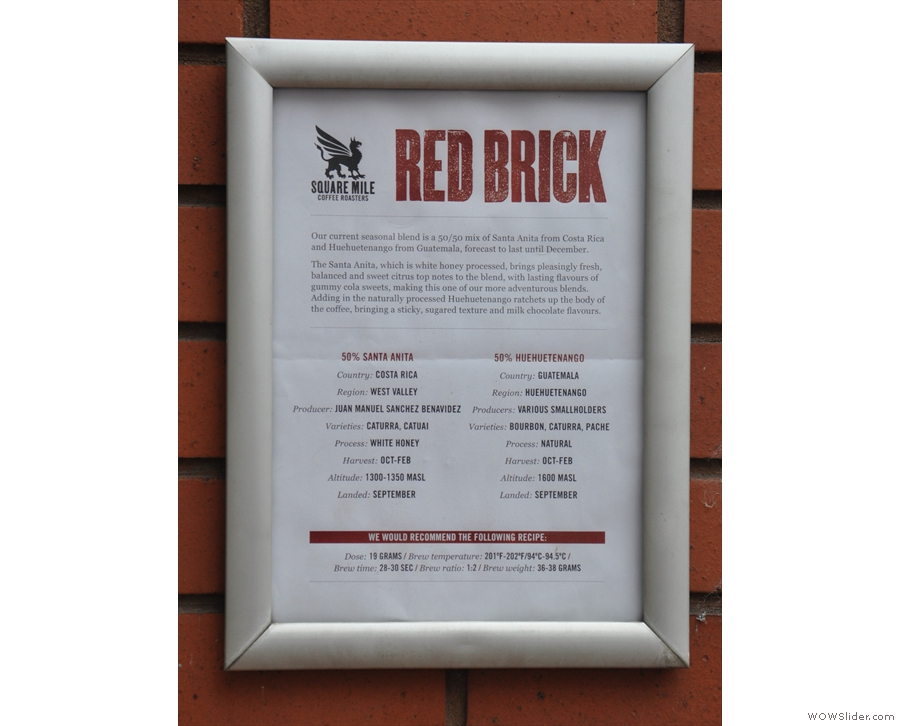 Wearing its heart on its sleeve, Forte proudly displays the info on the Red Brick espresso.