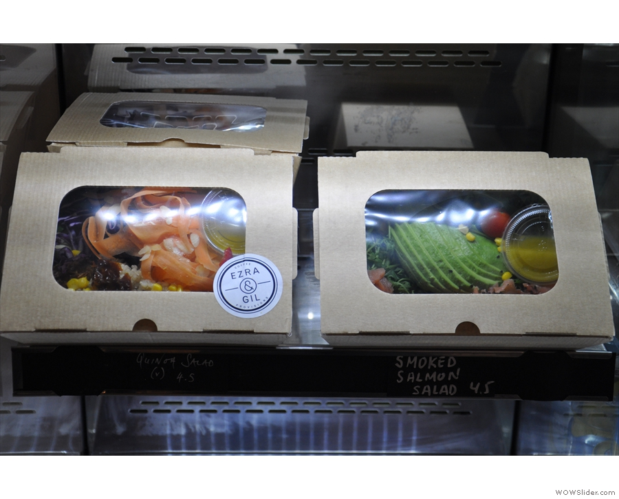 While in the chiller cabinet off to the right, you'll find a range of 'to go' salads.