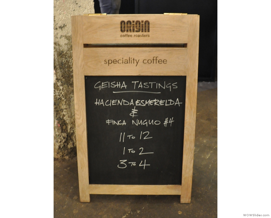 Origin was also doing tastings of a pair of Panama Geishas.