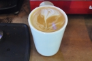 End result: a very drinkable flat white in my Therma Cup. There's even latte art (sort of!).