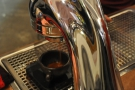 Here he is, pulling me a shot in my Kaffeeform cup on this shiny La Marzocco Modbar.