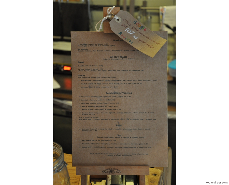 The breakfast and lunch menu, meanwhile, is on the counter, as well as on the tables.