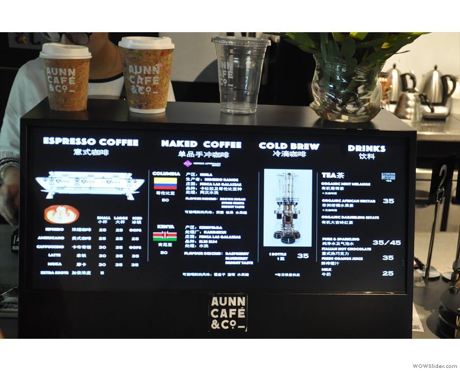 You order on the left, where you'll find the menu (pour-over is called Naked Coffee)...