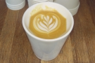 Here's one I (well, Craft) prepared earlier, a lovely flat white in my Therma Cup.