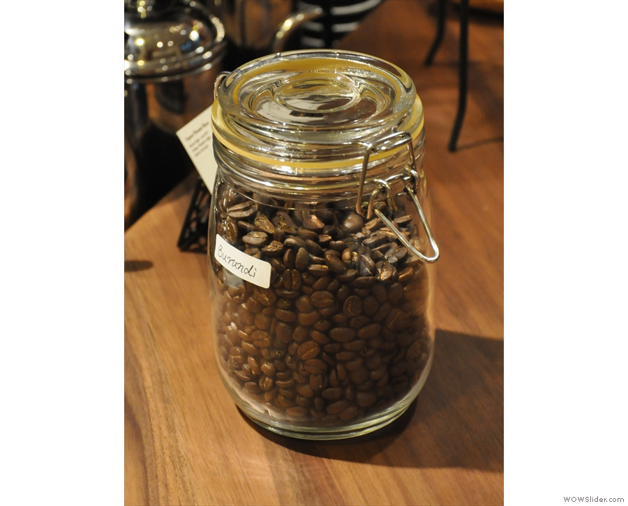 All the coffee is stored in jars. This Burundi wasn't mine, by the way.