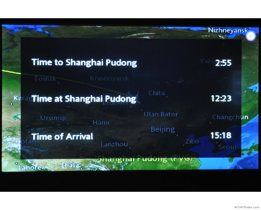 Just under three hours to go to Shanghai (although we landed at around 15.45, not 15.18).