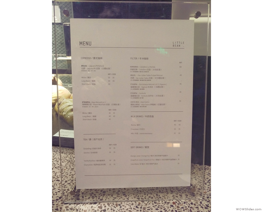 The concise coffee menu is on the counter next to the till, complete with origin notes...