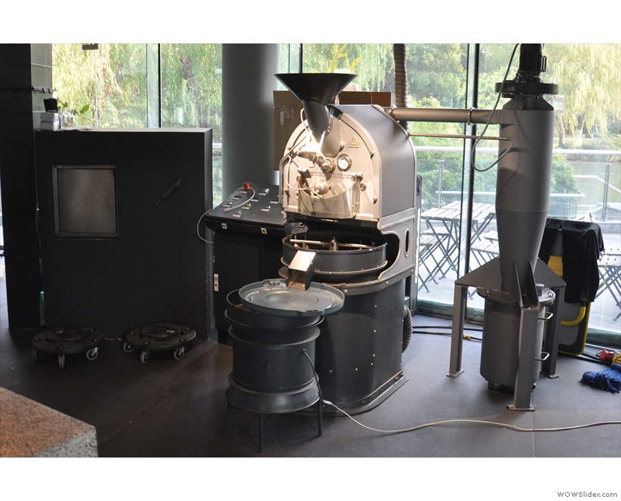 The roaster, meanwhile, is tucked away in a spacious production area behind the pour-over.