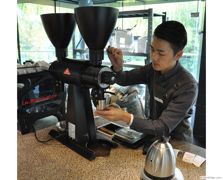 As well as my coffee, the barista is also making a second pour-over.