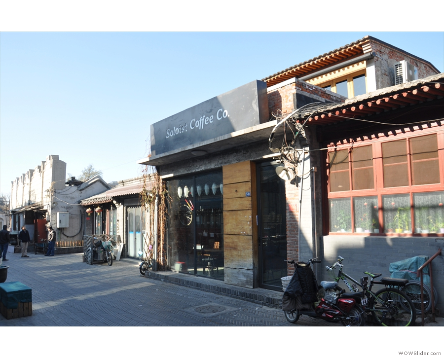 On a quiet, narrow alley south & west of Tiananmen Square, you'll find Soloist Coffee Co...