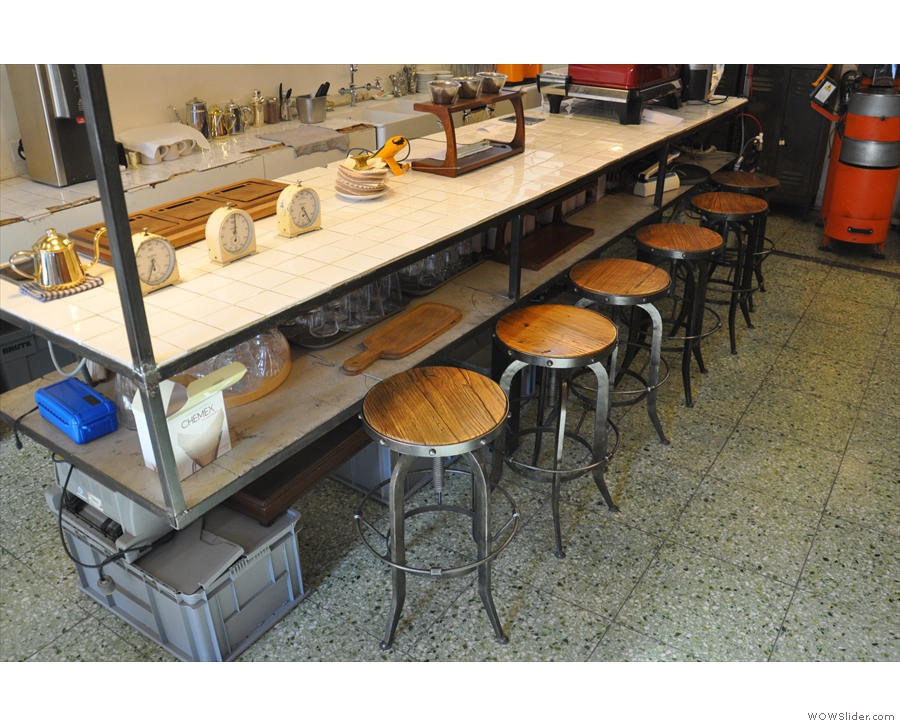 You can also sit here on one of these bar stools if you like.