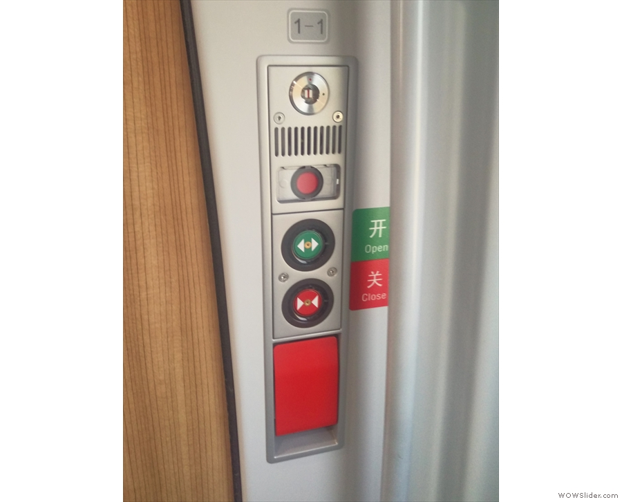Clearly marked door controls (in English as well as Chinese) are a welcome sight.