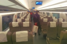 The seats in standard class, arranged in rows of 2+3. This was taken at Beijing...