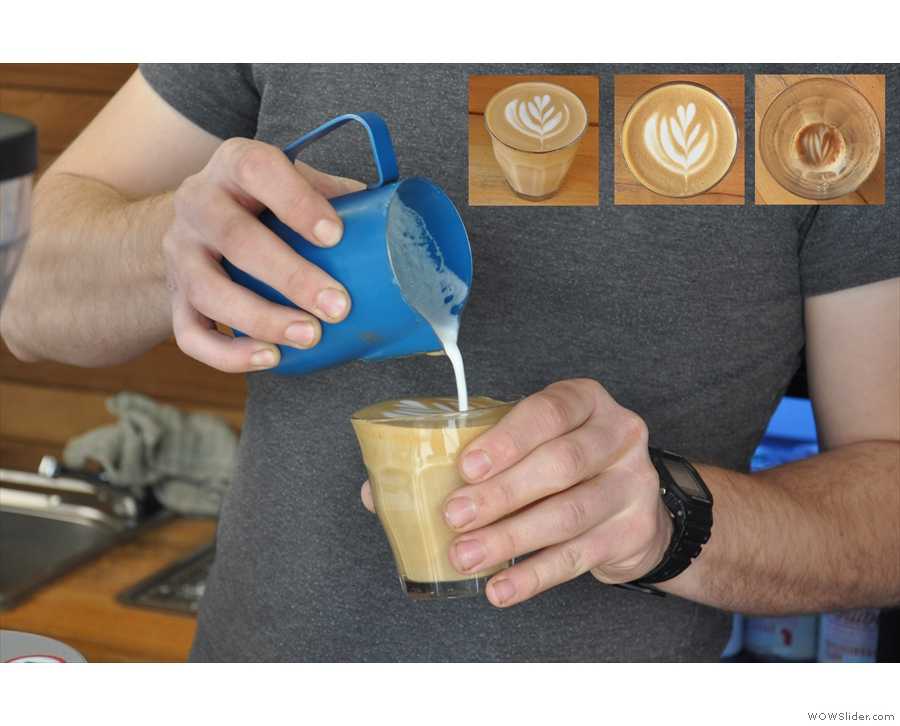 June: Pouring latte art at Canterbury's Lost Sheep Coffee.