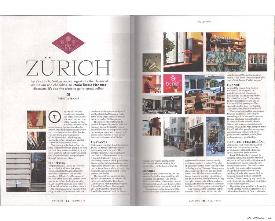 Maria Teresa Mancuso takes over my role of international correspondent for a trip to Zurich.