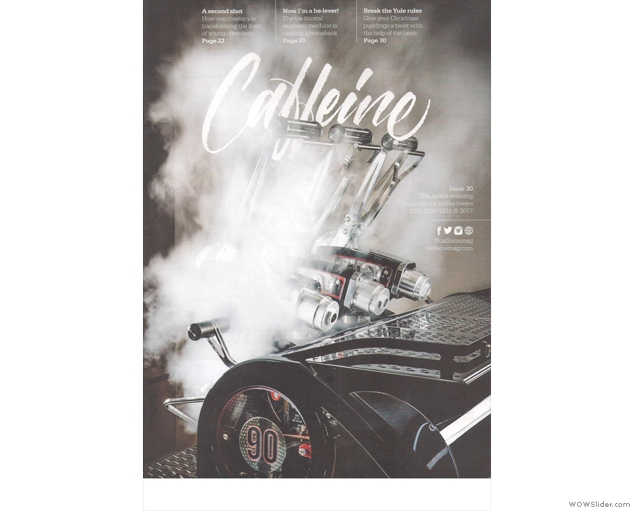 Caffeine Magazine ends the year with a stunning cover photo of the La Marzocco Leva.