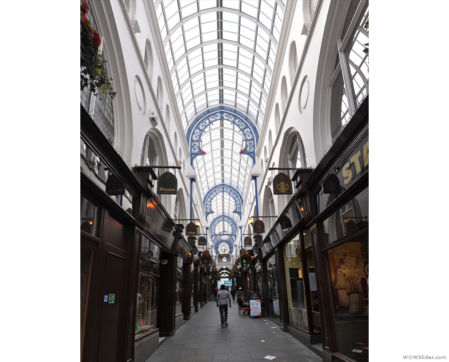The soaring heights of the three-storey Thornton's Arcade.