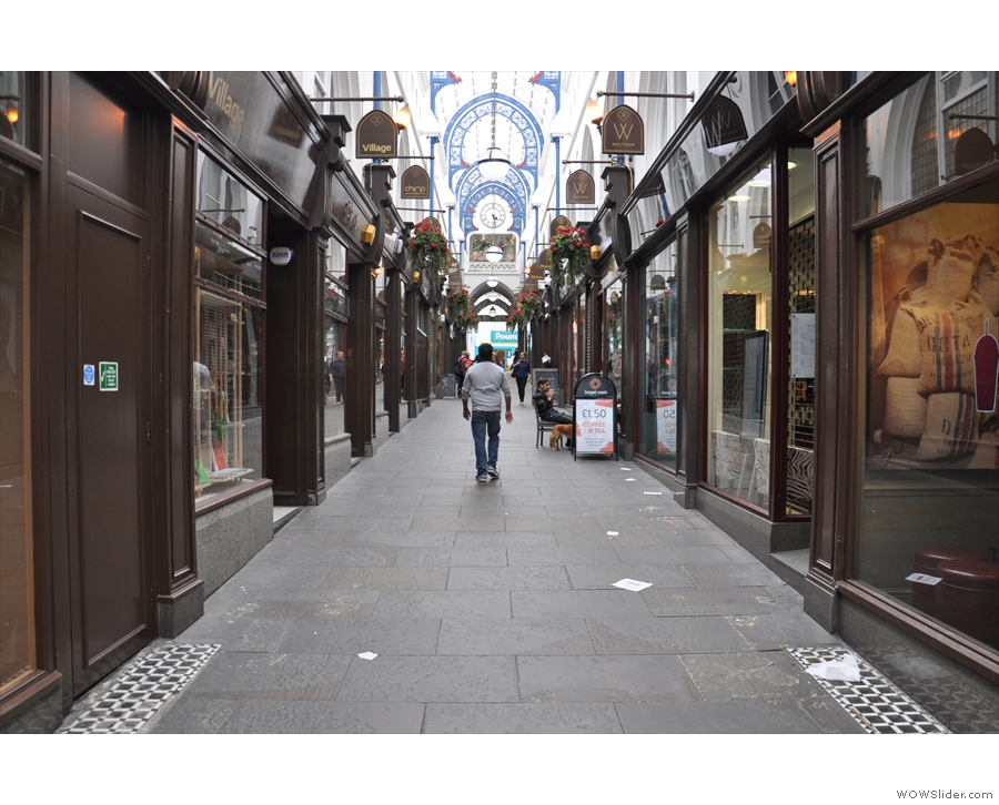 On the ground floor are the usual rows of shops...