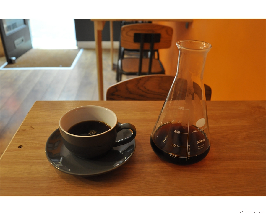 ... of an Ethiopean heirloom coffee, served in a carafe, with the cup on the side.
