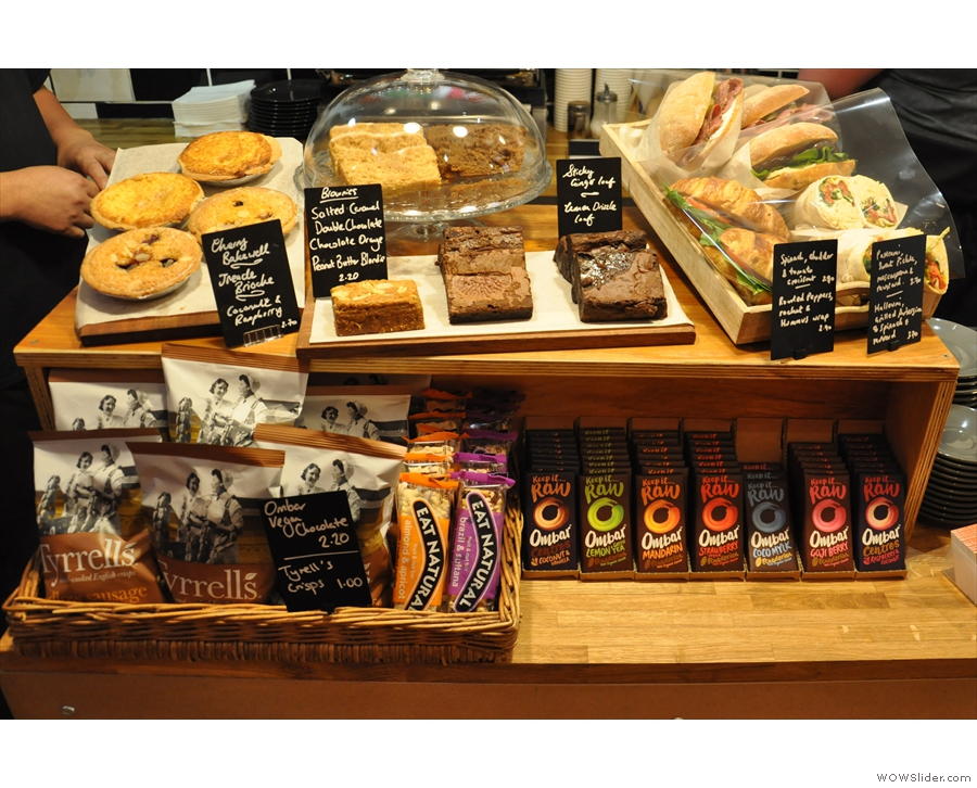 If you're hungry, there's a selection of cakes and sandwiches on the counter top...