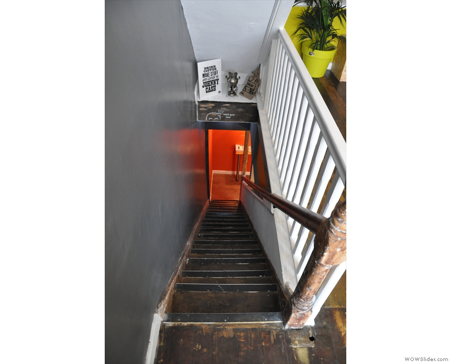 Why do stairs always appear steeper when you're looking down them?