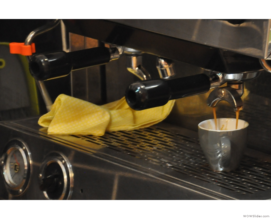 Watching espresso extract.