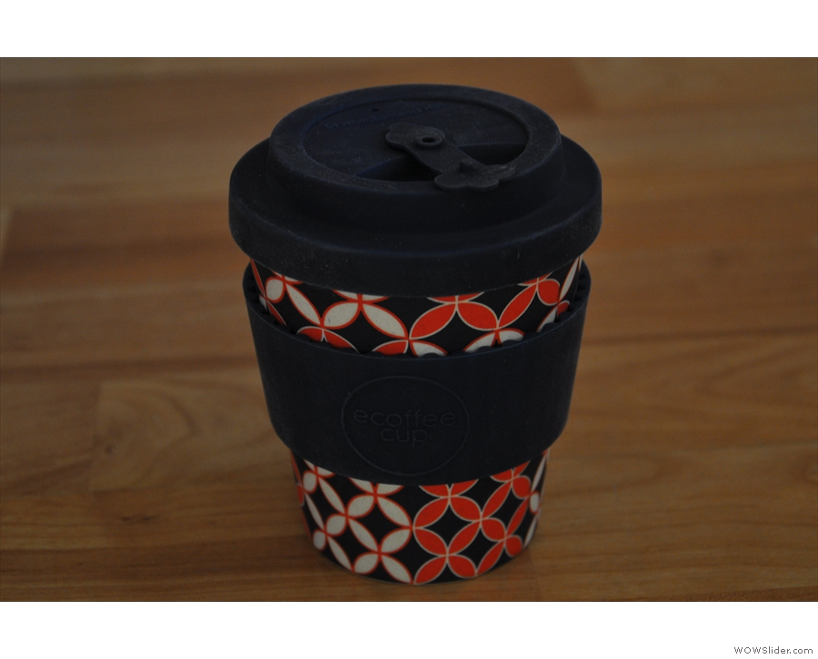 Moving on, the Ecoffee Cup is made from bamboo!
