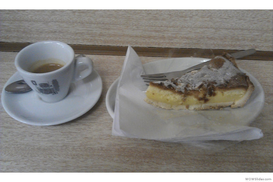 An espresso and a slice of lemon pie, part of my comprehensive taste-testing...