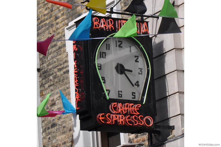 The famous Bar Italia Clock