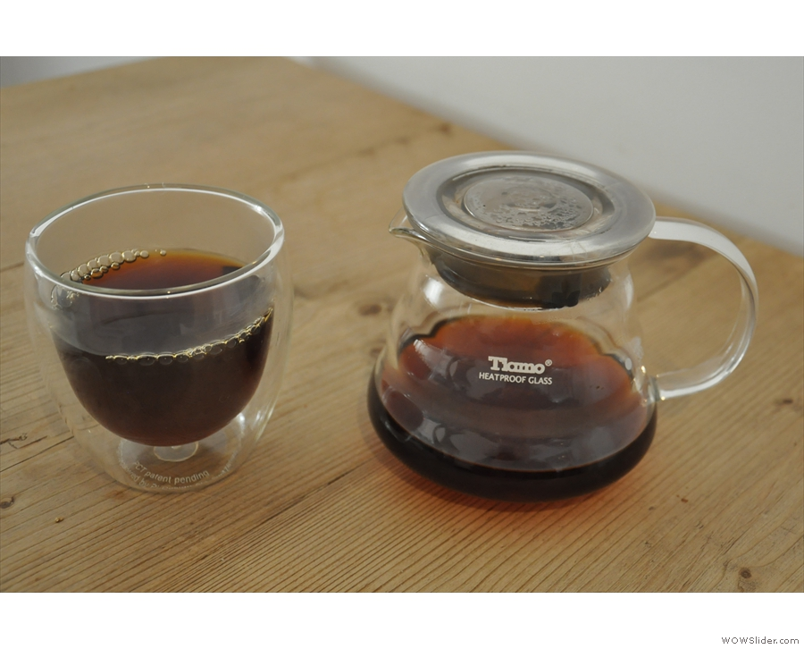 ... to try the pour-over. Here's my Yirgacheffe through the V60, served in a carafe.