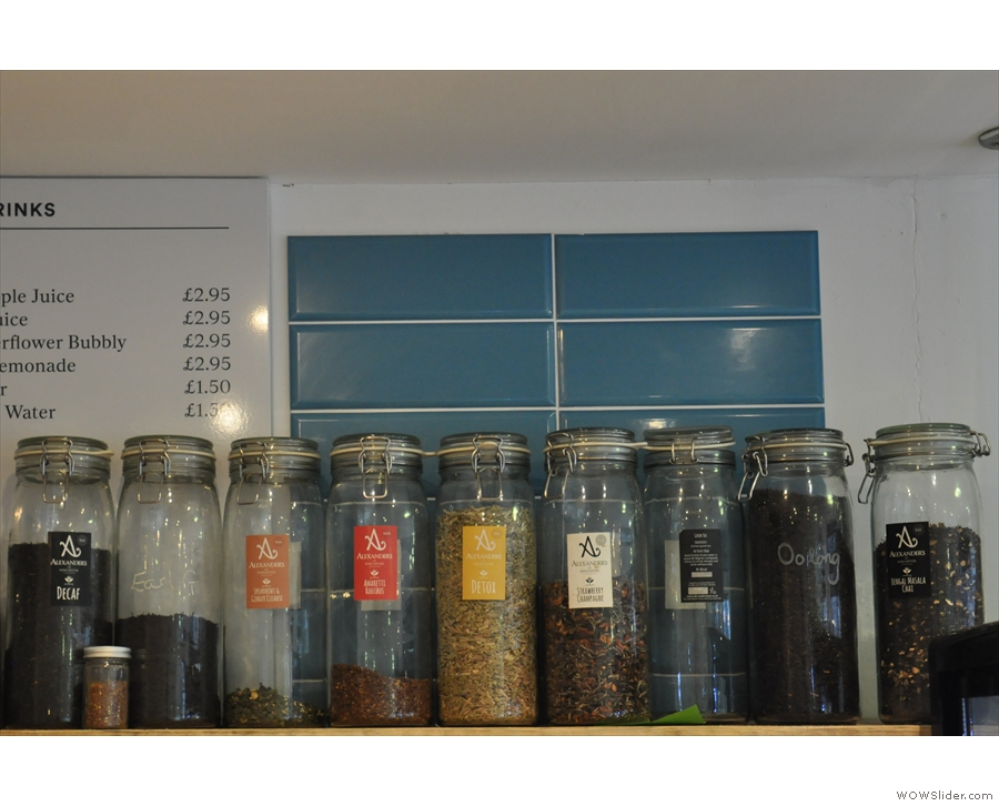 If you don't like coffee, there's a range of teas for you to try.