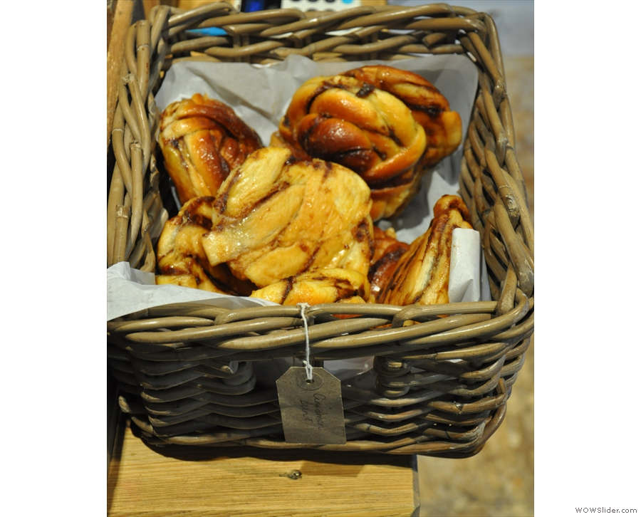 This is where my resistance crumbled: a basket of lovely-looking cinnamon buns.