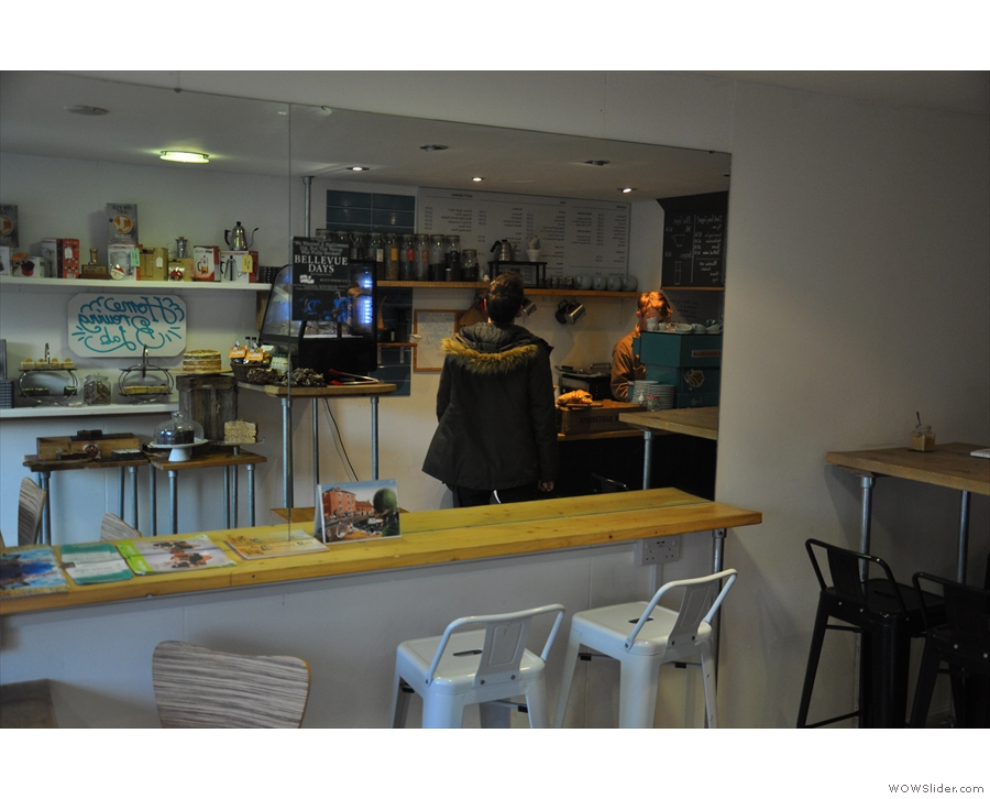 While the Coffee Lab may be small, the mirror on the left-hand wall gives it a roomy feel.