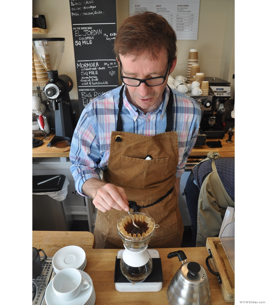 Jonathon getting his pour-over game on at Guildford's Canopy Coffee.