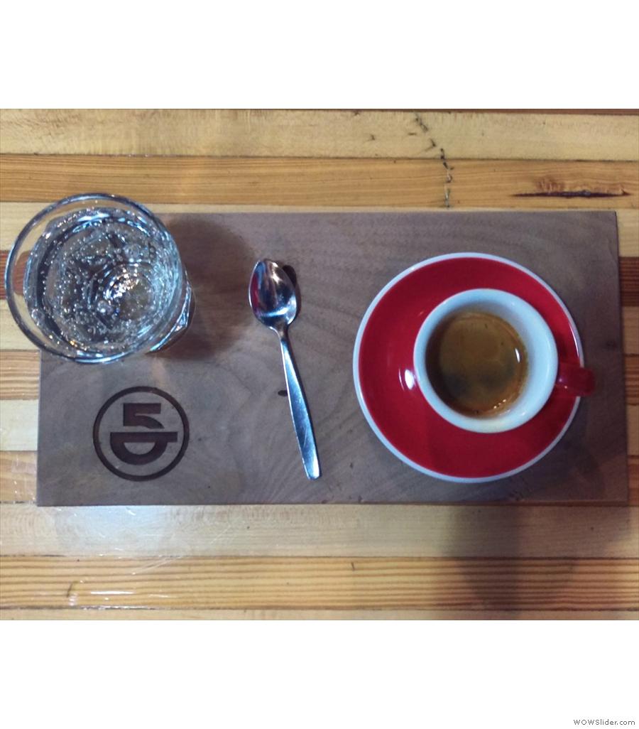 Off to 5th Element Coffee for an El Salvador single-origin espresso,the Finca Esparanza.